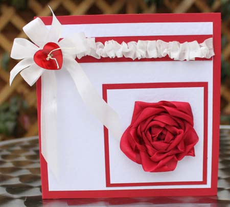 Seam Binding Ribbon Rose Card