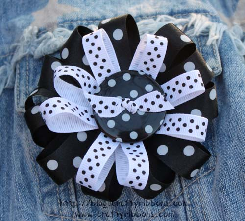 ribbon and button brooch